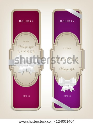 Two vector vintage style cardboard banners with festive silky bow knots - purples - stock vector