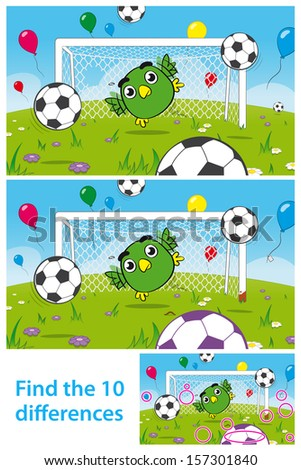 Two versions of vector illustrations with 10 differences to be spotted in a brainteaser for children in a kids puzzle with a cute bird goalkeeper playing soccer with soccerballs and balloons - stock vector