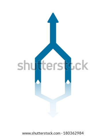 Two Vertical Arrows Connecting Into One Central Arrow - stock vector