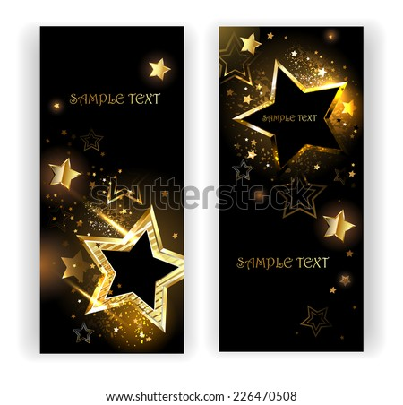 two vertical banner with shiny gold stars on a black background. - stock vector