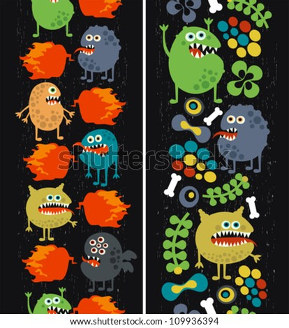 Two vertical seamless patterns with monsters, plants and fire. Vector texture. - stock vector