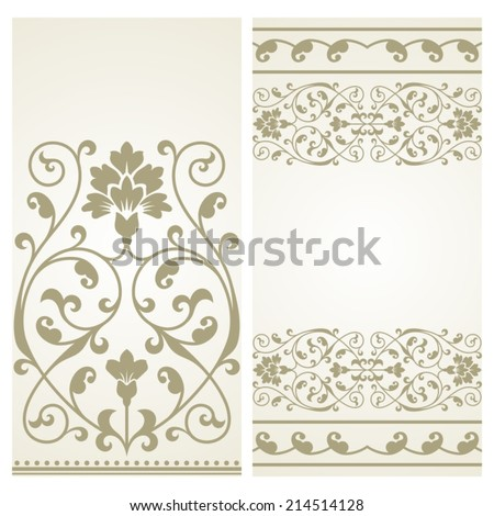 Two vintage greeting cards.  - stock vector