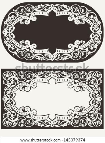 Two Vintage Ornate Frames Background - stock vector