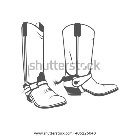 Two Vintage Western Cowboy Boots. Vector illustration. - stock vector