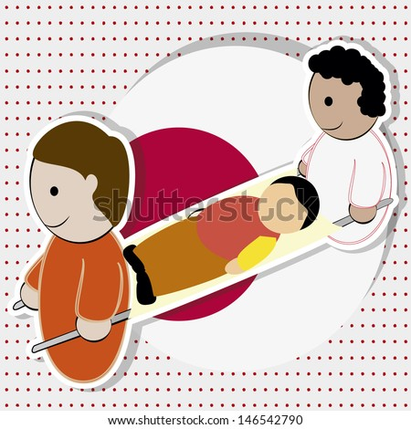 two volunteers carrying a wounded man on a stretcher, white with red dots. - stock vector