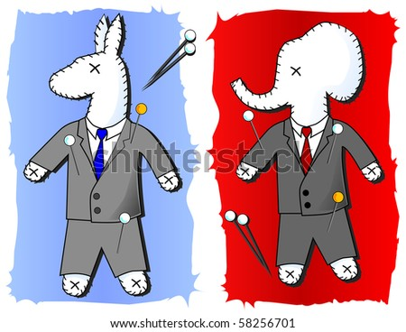 Two voodoo dolls of the republican elephant and the democratic donkey with pins on a red and blue background - stock vector