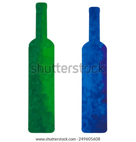 two watercolor bottles