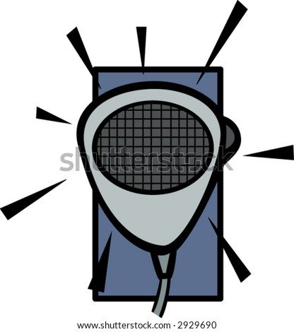 two-way radio microphone - stock vector