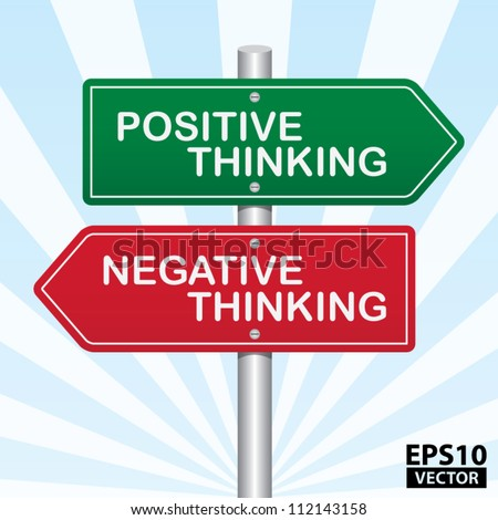 Two Way Street Sign with Positive Thinking and Negative Thinking concept. - EPS10 Vector - stock vector