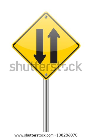 Two way traffic sign on white