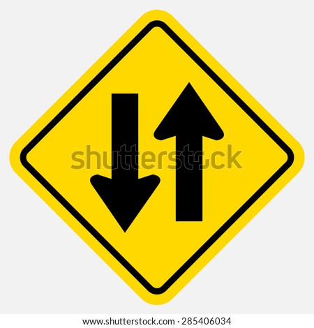 Two way warning sign - stock vector