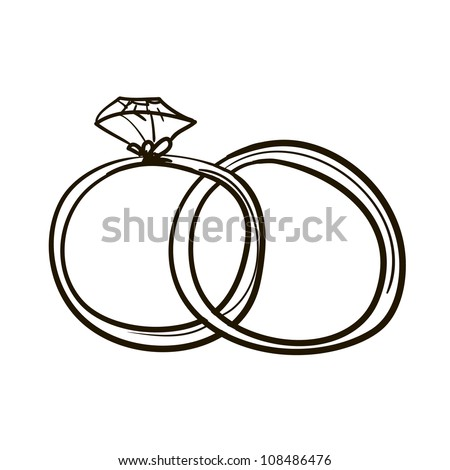Two Wedding Rings Childrens Sketch Stock Vector 108486476 Shutterstock