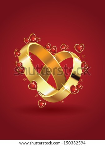 Two wedding rings in heart shape and red hearts background. - stock vector