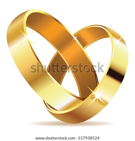 Two wedding rings in shape of heart on white background. - stock vector