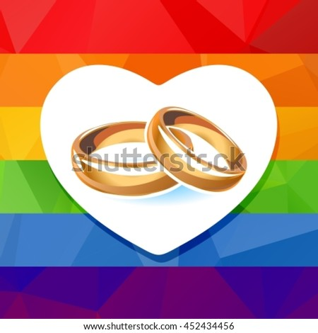 Two Wedding Rings Isolated On White Stock Vector 452434456