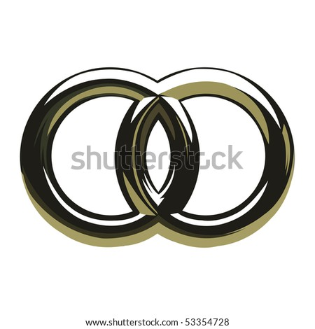 Two wedding rings symbol - stock vector