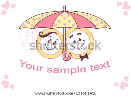 Two wedding rings under an umbrella. They are smiles. Umbrella decorated with hearts. Family picture. Suitable for marriage proposal or congratulations on wedding day. You can insert text.
