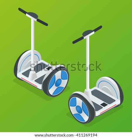 Two-wheeled Self-balancing electric scooter vector isometric illustrations. Intelligent and fashionable personal transportation tool with interactive function. Concise, fashionable, decent and elegant - stock vector