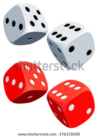 Two white and two red dices. - stock vector