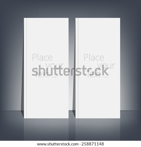Two White blank stationary near the black wall with shadow. Magazine, book, flyer, booklet, cover or report in A4 size for your design and your text . Vector Illustration - stock vector