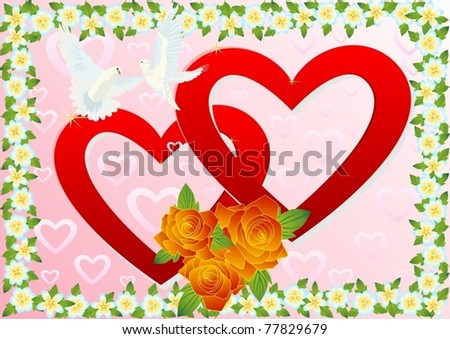 Two white doves flying in the background of two hearts and a bouquet of red roses in a box of wild flowers .. - stock vector