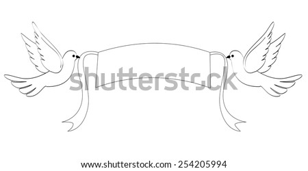 Two white doves holding a banner with ribbons clip art isolated on white background - stock vector