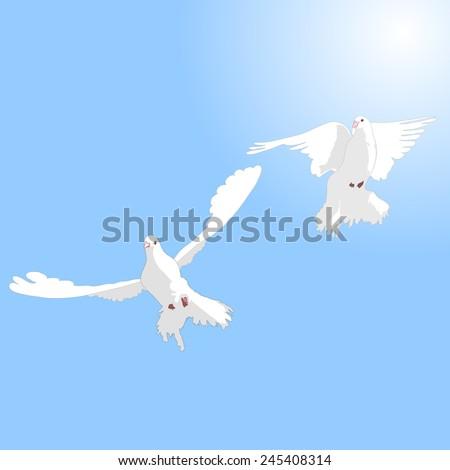 Two white doves in love against the sky. - stock vector