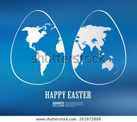 Two white easter eggs with global map pattern on blue background - Vector illustration - stock vector