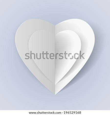 Two white folded paper hearts for romantic design - stock vector