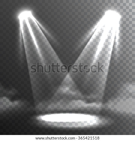 Two white light beams meet on stage floor bright spot in the darkness background banner abstract vector illustration  - stock vector