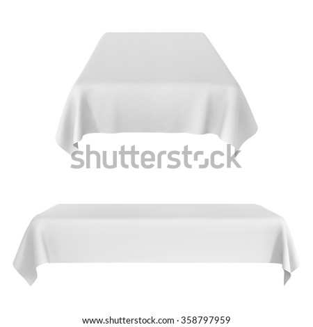 Two White Rectangular With Table Tablecloth. Vector Illustration