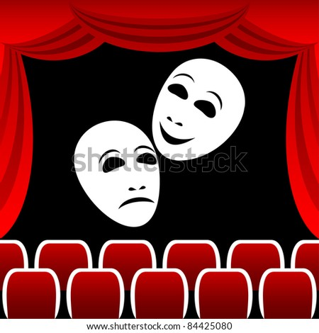 Two white theatrical masks on a black background. Masks represent tragedy and a comedy. Round a composition a red curtain. - stock vector