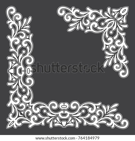 Two White Vintage Corners With Outline On Black Background Elegant Hand Drawn Retro Floral Border