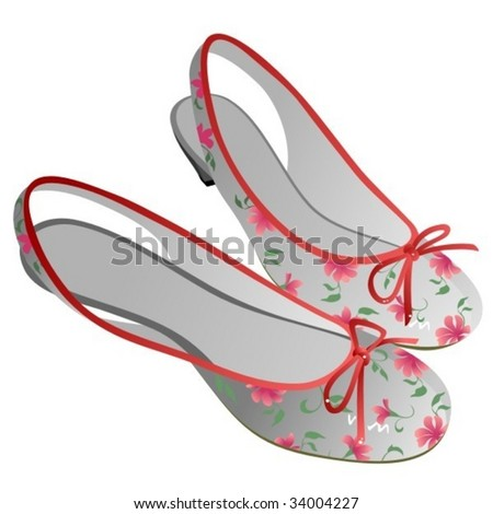 Two white woman shoes isolated on white - stock vector
