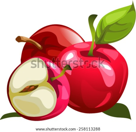 two whole red Apple and one sliced Apple red - stock vector