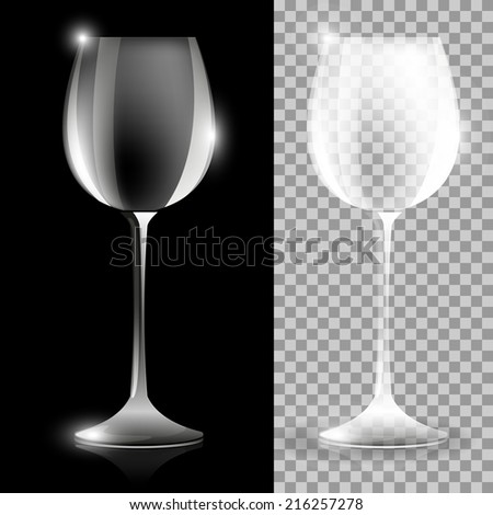 Two wine glass illustrations on black and clear background - stock vector