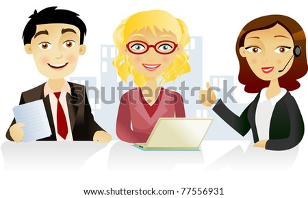 Two woman and one man  at the office - stock vector