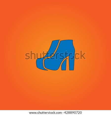 Two Woman Shoes. Blue flat icon with black stroke on orange background. Collection concept vector pictogram for infographic project and logo - stock vector