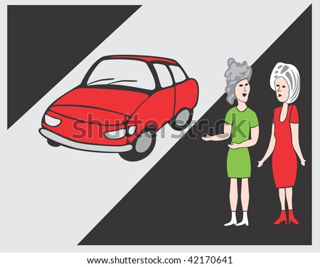 Two women and car - stock vector