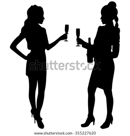 Two women drinking champagne - stock vector