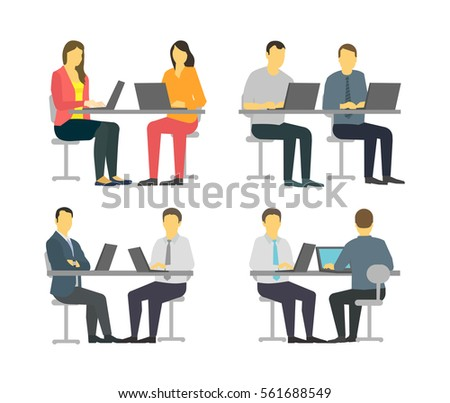 Two Workers Table Business People Set Stock Vector 561688549 ...