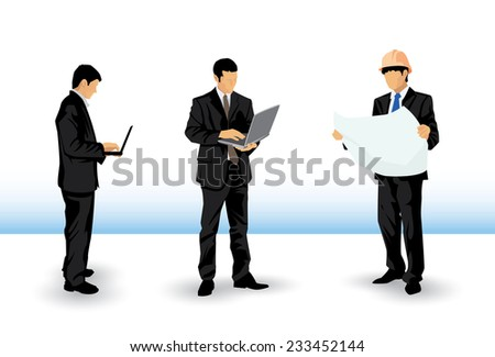 two working businessman illustration with laptop and an engineer - stock vector
