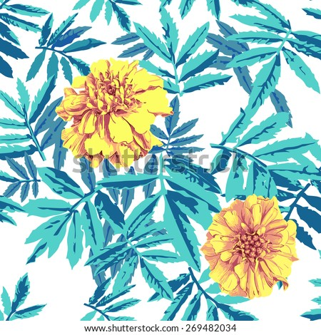 Two yellow flowers on green leaves seamless background wallpaper , vector - stock vector