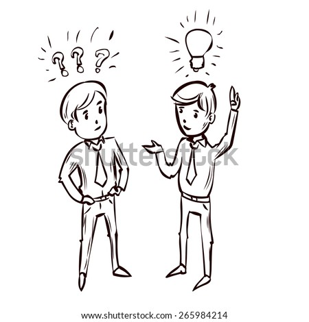 Two young businessman debating. Good idea. Doubt. Hand drawn cartoon illustration.