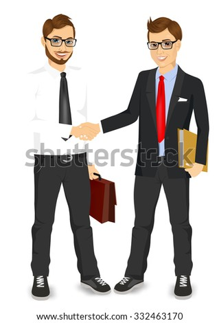 two young businessmen with glasses shaking hands happy standing negotiating - stock vector