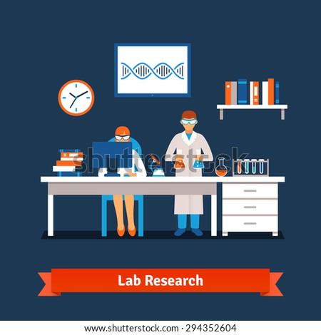 Two young chemistry scientists man and woman working in the lab with big table, desktop computer, test glass tubes, bottles and vials, books, microscope. Flat style isolated vector illustration. - stock vector