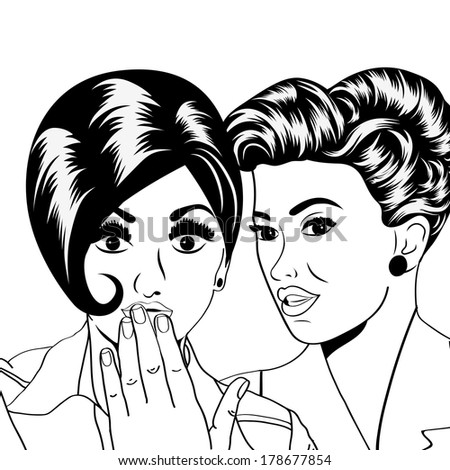 Two young girlfriends talking, comic art illustration in vector format - stock vector