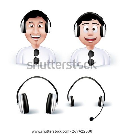 Two Young Man Happy Enjoying Listening Music in Headphones or Headset with HeadSet and Headphone Isolated in White Background. Editable Vector Illustration - stock vector