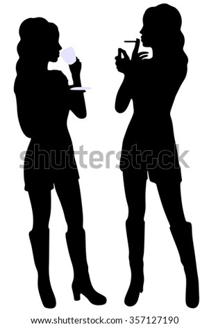 two young pretty women talking - stock vector