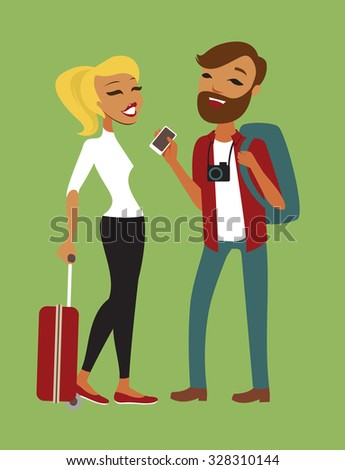 Two Young Tourists With luggage vector flat illustration - stock vector